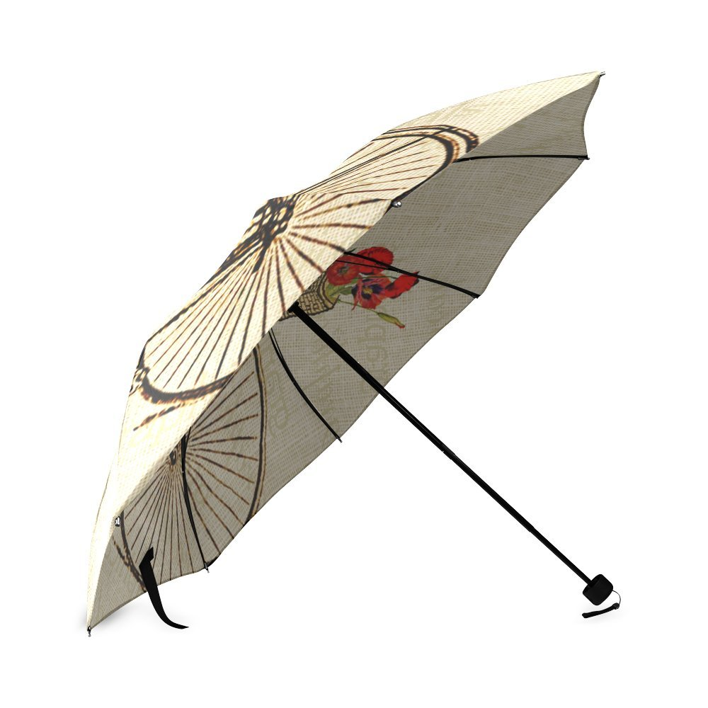 Vintage Bicycle and Flowers Print Design Lightweight Rain/Sun Umbrella Folding Anti-uv, Wind-proof Travel Umbrella 2