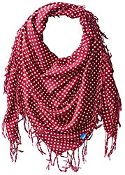 Keds Women's Square Scarf with Fringe, Beat Red Micro Dot, One Size