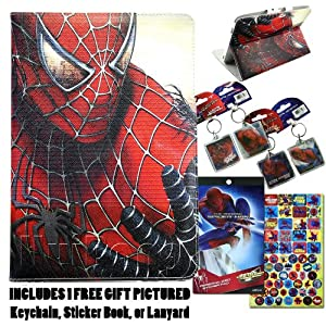 Spiderman Ipad Mini Leather Folio Case, Cover & Lanyard w/Jersey Bling Stylus (Spiderman)