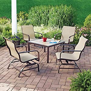 Mainstays Square Tile 5-Piece Patio Conversation Set, Seats 4 from Mainstays