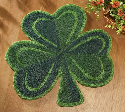 Shamrock Leaf Green Area Rug by Collections Etc
