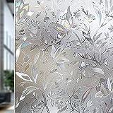 Rabbitgoo® 3D ガラスフィルム  窓用フィルム 浴室目隠しシート 断熱/紫外線カット 無接着剤 再利用可能 プライバシーガラスフィルム アップグレード版 DIY (60 x 200cm)