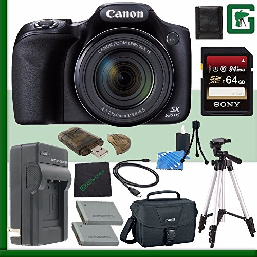 Canon PowerShot SX530 HS Digital Camera + 64GB Green's Camera Bundle 7 (Canon Powershot Sx510 Hs Bundle compare prices)