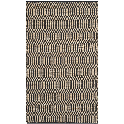 Safavieh Cape Cod Collection CAP822A Hand Woven Black and Natural Cotton Area Rug, 3 feet by 5 feet (3' x 5')