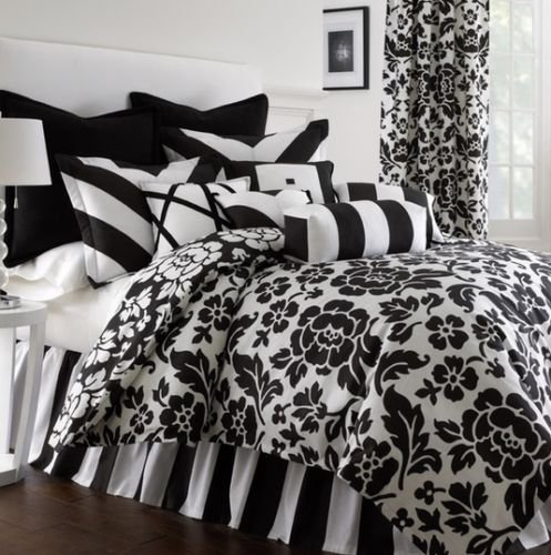 Cotton Black White French Country Floral Stripe Comforter Bedding Set Queen front-1052953