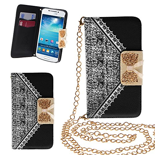 Xtra-Funky Exclusive Pu Leather Lace Pattern & Golden Bow Flip Case Cover Purse Handbag With Credit Card And Money Slots & Detable Golden Chain For Samsung Galaxy S4 (I9500) - Black