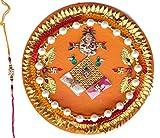 JaipurCrafts Thread of Astonishment Pooja Thali Floral Design Religious Rakhi