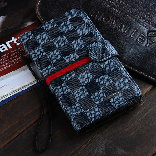 Luxury Brand Designer Black Checks Leather Cases Covers Wallet for Samsung Galaxy Note 3 III Note3 N9000 Men Checkered Plaid Cheap