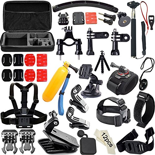 Soft-Digits-50-in-1-Kit-di-Accessori-per-GoPro-Hero-5-4-3-3-2-1-Action-Camera-Accessorio-per-SJCAM-SJ4000-5000-6000-7000-Xiaomi-Yi-Polipo-TreppiediManico-Galleggiante360-Gradi-Rotazione-Wrist-StrapHea