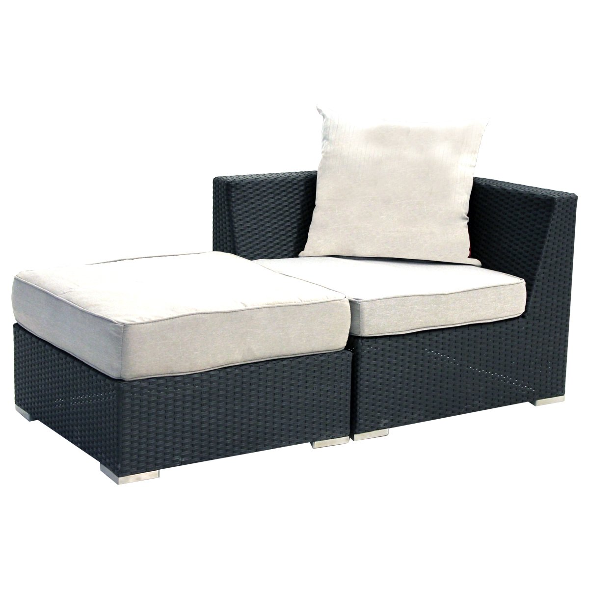 GARDENho.me 2tlg. Ergänzungsset zur Loungegruppe Arizona, Polyrattan schwarz, inkl. Kissen SSV-Gartenmöbel