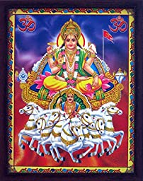 Lord vishnu roopa of lord krishana sitting on seven horse\'s Rath, A Indian Decorative Religious Poster with beautiful picture frame.