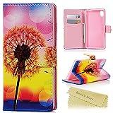 Mavis's Diary Funda de Cuero para Sony Xperia M4 Aqua - Flip case cover Diseño de Diente de león Amarillo con Cierre Magnético y función de Soporte
