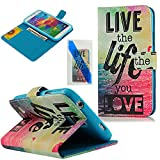 MOLLYCOOCLE Fashion Style Wallet Card Case Magnetic Design Flip Folio PU Leather Cover Standup Cover Case with Alphabet Pattern Skin for Samsung Galaxy S5 I9600