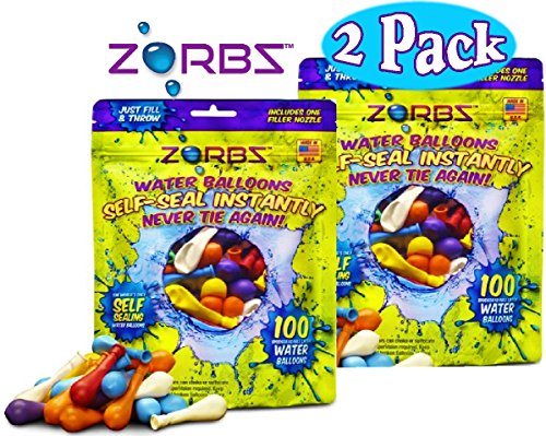 Zorbz Self-Sealing Water Balloons (100 Count) With Filler Nozzle Bundle - 2 Pack