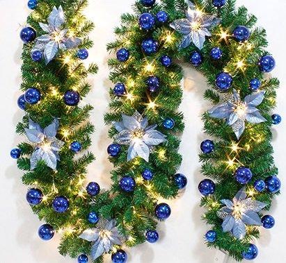 クリスマスリース 直径約30cm 2.7m クリスマス リース 飾り 玄関 ドア チャーム 装飾 リビング (電池ライト青)