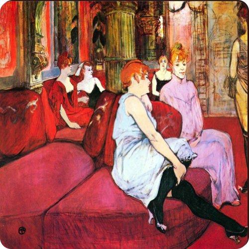 Rikki Knighttm Toulouse Lautrec Art Salon In The Rue De Moulins Design Square Fridge Magnet front-588581