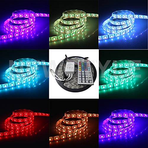 Newstyle 16.4Ft 5M Smd 5050 Water-Resistant 300Leds Rgb Flexible Led Strip Light Lamp Kit + 44Key Ir Remote Controller