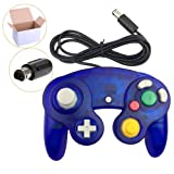 Koalud 1 Pack Classic Wired Gamepad Controllers for Wii Game Cube Gamecube console(Clear blue)