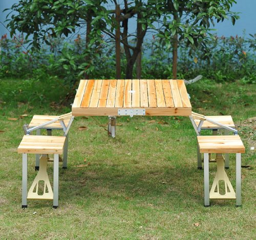 Outsunny Portable Lightweight Folding Suitcase Picnic Table w/ Built-In Chairs