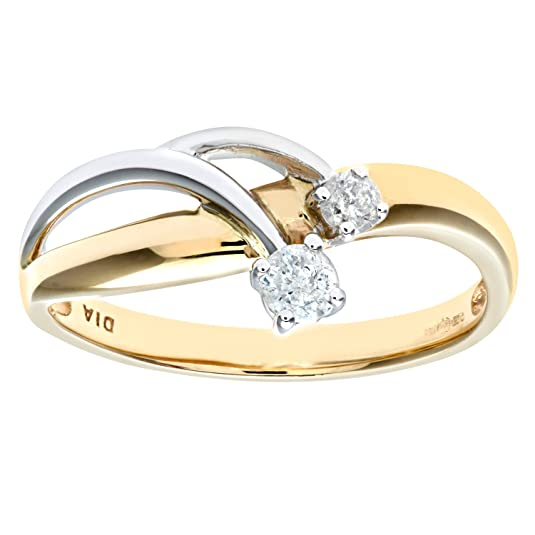 Naava 9ct Yellow and White Gold Ladies Diamond Ring