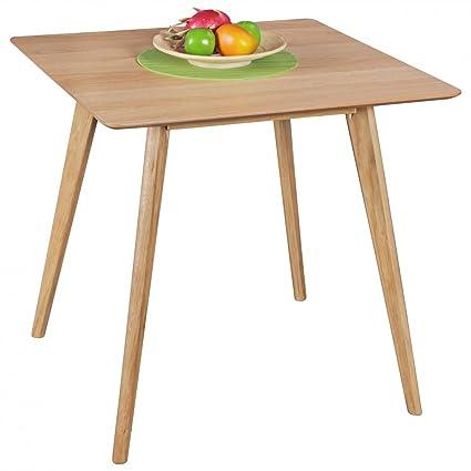 WOHNLING tavolo da pranzo 80 x 76 x 80 cm di legno MDF | Tavolo da pranzo con piano quadrato | tavolo da cucina robusta in stile retrò | Tavolo in legno design scandinavo | Tavolo in impiallacciato rovere