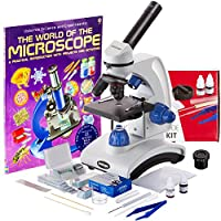 AmScope AWARDED BEST STUDENT MICROSCOPE 40X-1000X Dual Light Optical Glass Lens All-Metal Framework Student Microscope + Microscope Prepared and Blank Slides from AmScope
