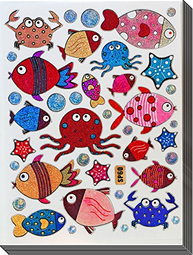Jazzstick 200 Glitter Cute Fish, Octopus, Crab Decorative Sticker 10 sheets (VST09A04) - 1