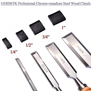 GREBSTK Professional Wood Chisel Tool Sets Sturdy Beech Wood Handles and Chrome Vanadium Stainless Steel Woodworking Tools with Zippered Bag for Carving Knifes/Chisel Kit, 4PCS, 1/4,1/2,3/4,1 (Color: Wood color, Tamaño: 1/4,1/2,3/4,1)