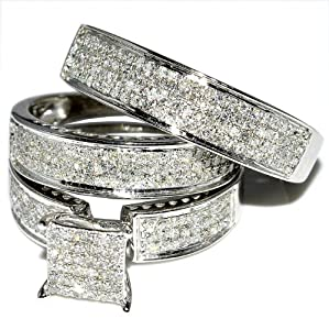 Amazon.com: His and Her Trio Wedding Rings Set 1ct w