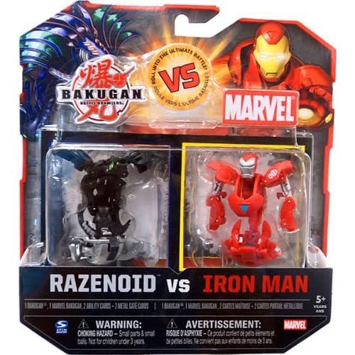 Bakugan vs. Marvel 2Pack Black Razenoid vs. Iron Man Yellow Face