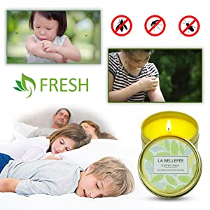 15 Hour Burn 2.5oz Natural Scented Soy Wax Portable Travel Tin Candle Set LA BELLEF/ÉE Citronella Candles Outdoor and Indoor 6-Packs