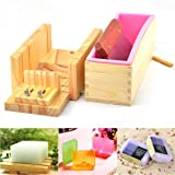Pure Vie Adjustable Wood Soap Cutter Box Wire Cutter Slicer Set + 1 pc Rectangle Handmade Soap Silicone Loaf Mold with Wood Box + 1PC Straight DIY Making Loaf Garnish Cake Soap Cutter Making Tool (Color: #1)