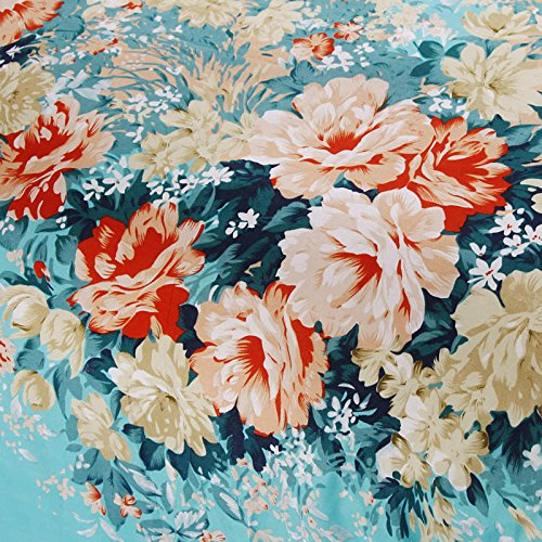 100% Cotton 3-Piece Blue Flowers Printed Duvet Covers Sets for Girls (1 Duvet Cover+1 Bed Sheet + 2 Pillowcases) Full 3