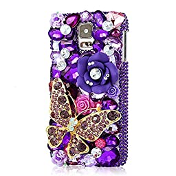 Samsung Galaxy S5 mini Case, Sense-TE Luxurious Crystal 3D Handmade Sparkle Glitter Diamond Rhinestone Ultra-Thin Clear Cover with Retro Bowknot Anti Dust Plug - Butterfly Flowers / Gold&Purple