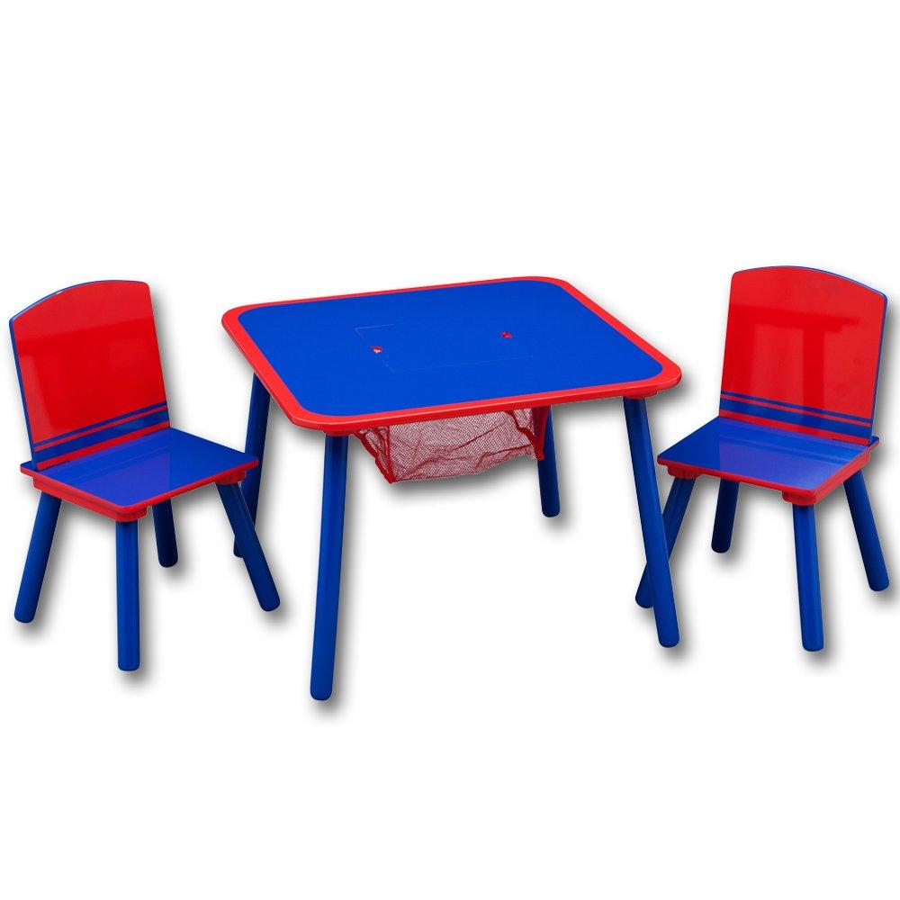 Kindertisch mit Stühle – Sitzgruppe Kinder – Kindersitzgruppe mit Ablagenetz mit Farbauswahl (Kindersitzgruppe mit Ablagenetz rot/blau) günstig
