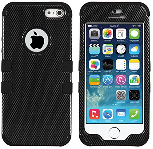 Mylife (Tm) Black - Carbon Fiber Series (Neo Hypergrip Flex Gel) 3 Piece Case For Iphone 5/5S (5G) 5Th Generation Smartphone By Apple (External 2 Piece Fitted On Hard Rubberized Plates + Internal Soft Silicone Easy Grip Bumper Gel)