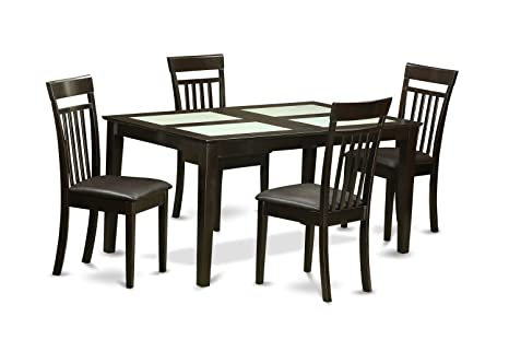 East West Furniture CAP5G-CAP-LC 5-Piece Dining Table Set