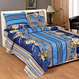 Soni Traders Floral Print Polycotton Double Bedsheet With 2 Pillow Covers (BST_094, Blue)