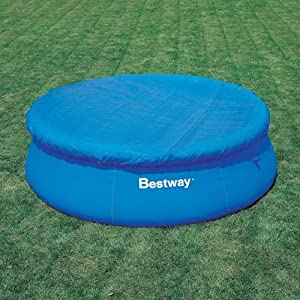 NEW BESTWAY 8 FT 8' FAST SET SWIMMING POOL COVER 244CM WITH ROBE