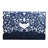 Wedding Invitation Card 50 pack, FOMTOR Laser cut Wedding Invitations Kit With Blank Printable Paper and Envelopes Navy Blue (Color: Navy Blue, Tamaño: 18x12cm)