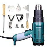 Heat Gun Variable Temperature, Hot Air Gun 122°F - 1020°F with 5 Nozzle Attachments for Stripping Paint, Shrinking PVC/Wrap, Cell Phone Repairs (1500W (2 Temp Setting)) (Color: 1500W (2 Temp Setting))