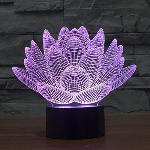 Youzone Magical Panel 3D Optical Visualization Illusion 7 Colors Change USB Touch Switch Table Lamp Bulbing LED Light Night Lighting Home Decoration Household Lights (Lotus)