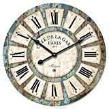 "12"" Vintage Roman Numeral Design Wood Clock - Eruner France Paris *Café De La Gare* Colourful French Country Tuscan Style Wooden Wall Clock (#03, Normal)"