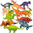 "Prextex Realistic Looking 7"" Dinosaurs Pack of 12 Large Plastic Assorted Dinosaur Figures from Prextex"