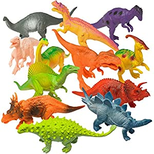 """Prextex Realistic Looking 7"""" Dinosaurs Pack of 12 Large Plastic Assorted Dinosaur Figures from Prextex"""