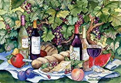 Magic Slice Non-Slip Flexible Cutting Board, Party Size 7-1/2-Inch by 11-Inch, Vineyard Picnic by Kathleen Parr McKenna