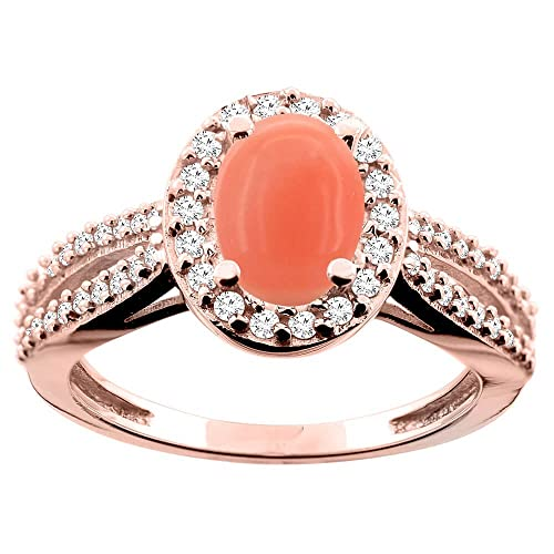 14ct Rose Gold Natural Coral Ring Oval 8x6mm Diamond Accent 7/16 inch wide, size L