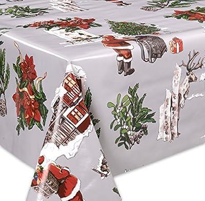 Wachstuch Tischdecke abwaschbar Meterware, Glatt Weihnachten Bescherung Grau, Größe wählbar von Beautex - Gartenmöbel von Du und Dein Garten