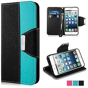 Vakoo Housse iPhone 5 5s, Etui à Clapet Flip Style PU Portefeuille Cuir Fermeture Aimanté + TPU Bumper Pour Apple iPhone 5 / 5s - Noir / Bleu