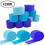15 Rolls 82ft Crepe Paper Streamers,3 Colors Include Light Blue,Blue,Dark Dlue,for Various Decorations,Party Backdrop Decorations,Birthday,Christmas,Theme Parties,DIY